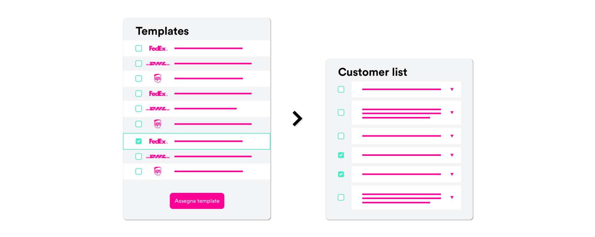 Create different prices list template and assign different services to your customers.